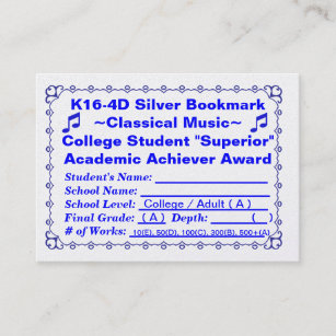 K16 4D Silver Bookmark Classical Music 100ct Business Card