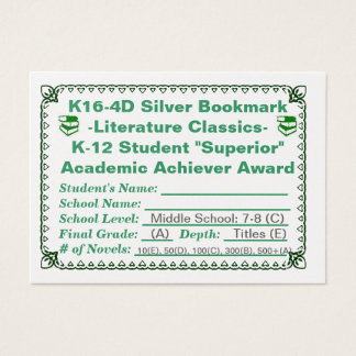 K16-4D Silver Bookmark -Literature Classics- 100ct Business Card