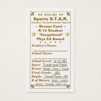 K16-4D Sports S.T.A.R. ~Bronze Card~ HS 100ct Business Card