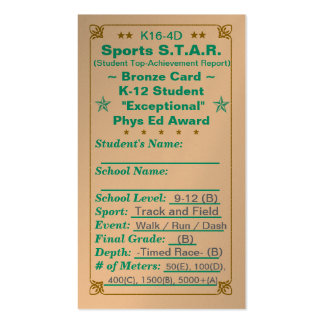K16-4D Sports S.T.A.R. ~Bronze Card~ HS 100ct Double-Sided Standard Business Cards (Pack Of 100)