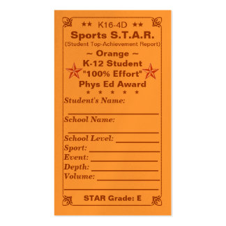 K16-4D Sports S.T.A.R. ~Orange Card~ HS 100ct Double-Sided Standard Business Cards (Pack Of 100)