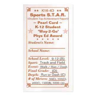 K16-4D Sports S.T.A.R. ~Pearl Card~ HS 100ct Double-Sided Standard Business Cards (Pack Of 100)