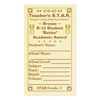 K16-4D Teacher's ~Bronze~ S.T.A.R. Card 100ct Double-Sided Standard Business Cards (Pack Of 100)