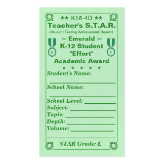 K16-4D Teacher's ~Emerald~ S.T.A.R. Card 100ct Double-Sided Standard Business Cards (Pack Of 100)