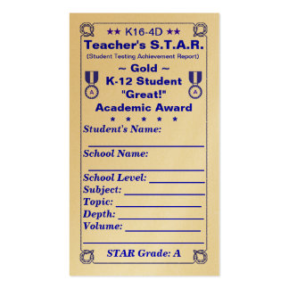 K16-4D Teacher's ~Gold~ S.T.A.R. Card 100ct Double-Sided Standard Business Cards (Pack Of 100)