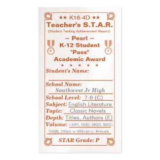 K16-4D Teacher's ~Pearl~ S.T.A.R. Card 100ct Double-Sided Standard Business Cards (Pack Of 100)