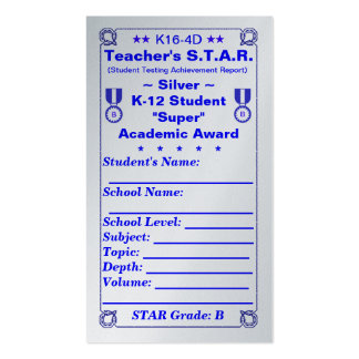 K16-4D Teacher's ~Silver~ S.T.A.R. Card 100ct Double-Sided Standard Business Cards (Pack Of 100)