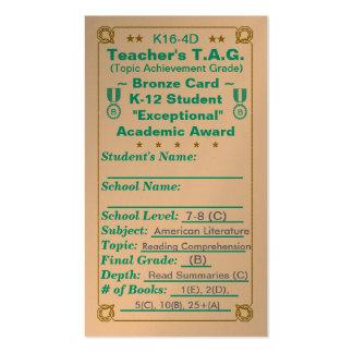 K16-4D Teacher's T.A.G. ~Bronze Card~ Jr Hi 100ct Double-Sided Standard Business Cards (Pack Of 100)