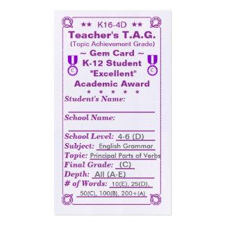 K16-4D Teacher's T.A.G. ~Gem Card~ Elem 100ct Double-Sided Standard Business Cards (Pack Of 100)