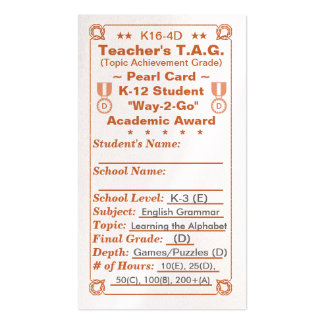 K16-4D Teacher's T.A.G. ~Pearl Card~ K-3 100ct Double-Sided Standard Business Cards (Pack Of 100)