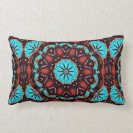 K172 Wood And Turquoise Kaleidoscope Pillows