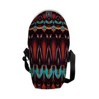 K172 Wood and Turquoise Vertical Pattern Messenger Bag