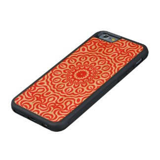 K191 Curly Red Swirls Carved Cherry iPhone 6 Bumper Case