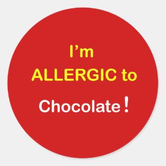 k2 - I'm Allergic - CHOCOLATE. Classic Round Sticker