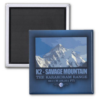 K2 -The Savage Mountain 2 Inch Square Magnet