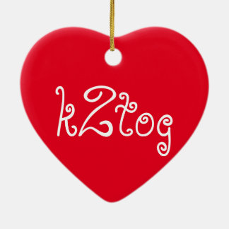 k2tog Double-Sided heart ceramic christmas ornament