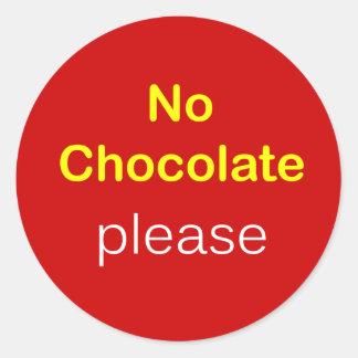 k5 - Food Request ~ NO CHOCOLATE PLEASE. Classic Round Sticker