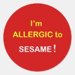 k8 - I'm Allergic - SESAME. Round Sticker
