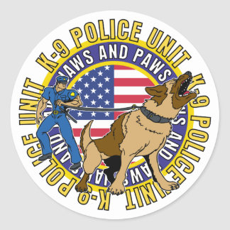 K9 Jaws and Paws Round Sticker