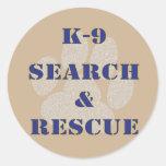 K9 Search and Rescue Classic Round Sticker