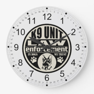 K9 Unit In Dogs We Trust (Black) Large Clock