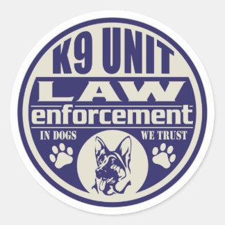 K9 Unit In Dogs We Trust Blue Classic Round Sticker
