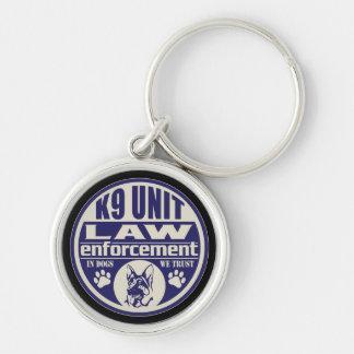 K9 Unit In Dogs We Trust Blue Keychain