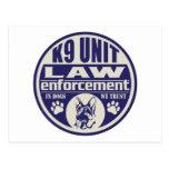 K9 Unit In Dogs We Trust Blue Postcard
