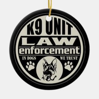 K9 Unit In Dogs We Trust Ceramic Ornament