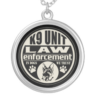 K9 Unit In Dogs We Trust Silver Plated Necklace