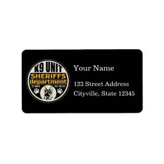 K9 Unit Sheriff's Department Label
