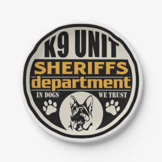 K9 Unit Sheriff's Department 7 Inch Paper Plate