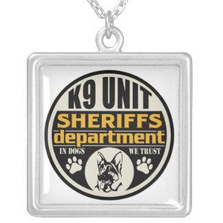 K9 Unit Sheriff's Department Square Pendant Necklace