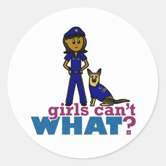 K-9 Police Woman Classic Round Sticker