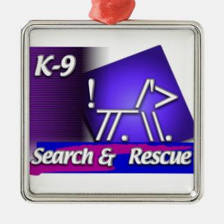 K-9  SR SEARCH & RESCUE ASCII DOG METAL ORNAMENT