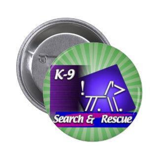 K-9  SR SEARCH & RESCUE ASCII DOG PINBACK BUTTON