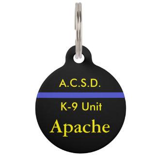 K-9 Unit Sheriff's Department Dog Tag Pet Nametags