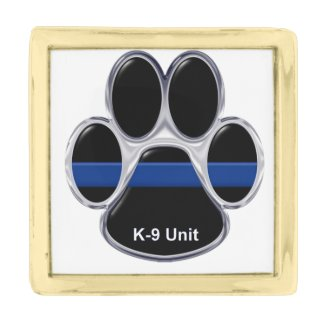 K-9 Unit Thin Blue Line Gold Finish Lapel Pin