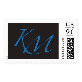 K and M monogram stamp black and blue