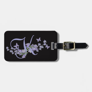 K - Blue Bells Butterfly Monogram Black Background Tags For Bags