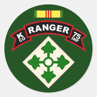 K Co, 75.o regimiento de infantería - Pegatina Redonda