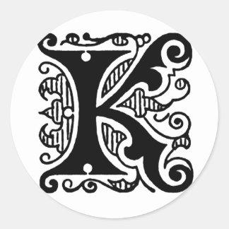 K Design Classic Round Sticker