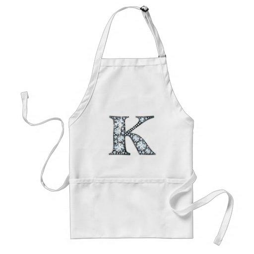 """""""K"""" Diamond Bling Apron"""
