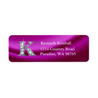 K Diamond Bling Monogram Return Address Label
