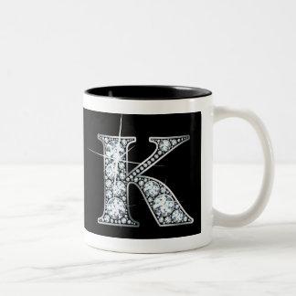 """""""K"""" Diamond Bling on Black Mug"""