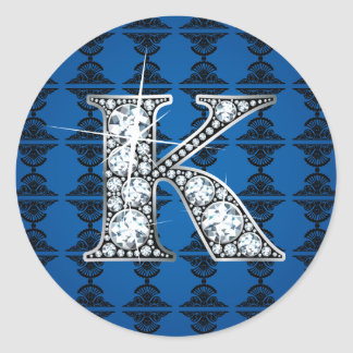 """K"" Diamond Bling on Damask Sticker"