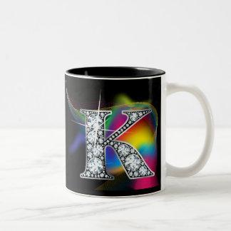 """K"" Diamond Bling on Rainbow Swirl Mug"