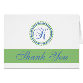 K Dot Circle Monogam Thank You Cards (Blue / Mint)