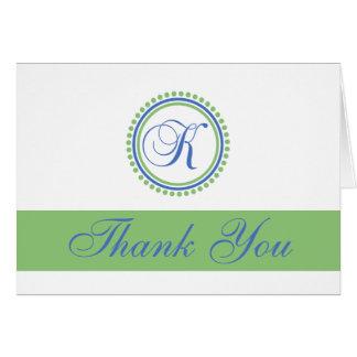K Dot Circle Monogam Thank You Cards (Blue / Mint)