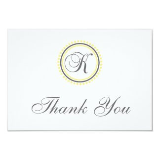 K Dot Circle Monogam Thank You Cards (Yellow/Gray)